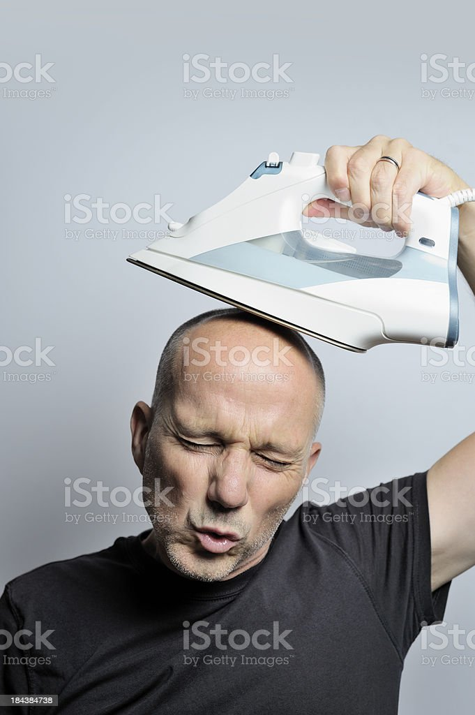 Ironing my Head royalty-free stock photo