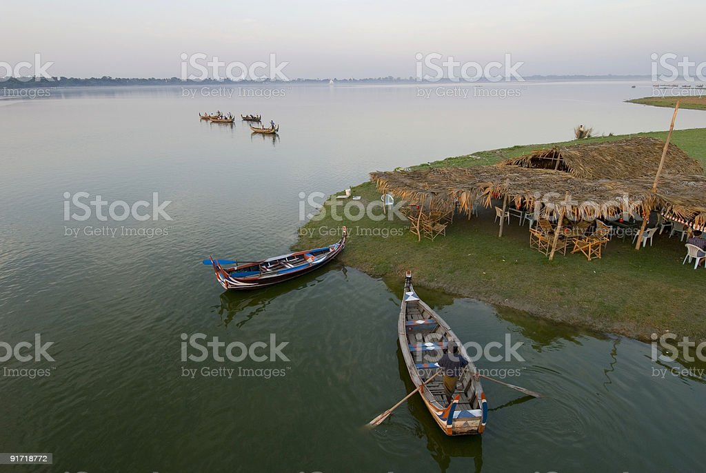 Irrawaddy river in myanmar stock photo