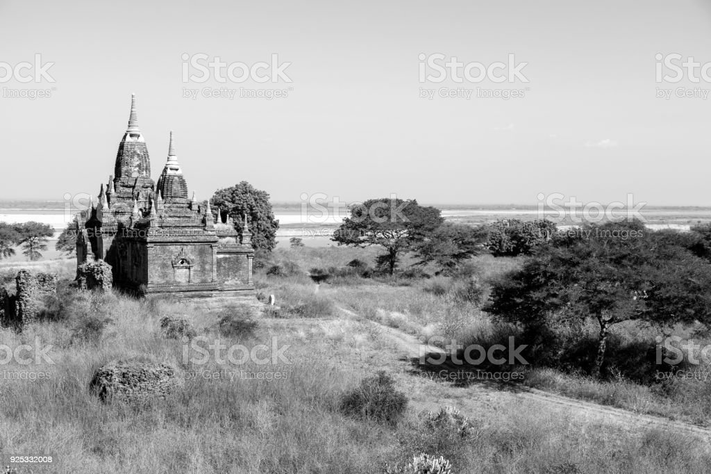 Irrawaddy River with Pagodas in Bagan, Myanmar stock photo