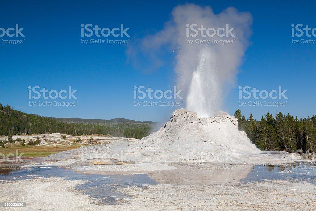 Irregular eruption in Castle Geyser in Yellowstone stock photo