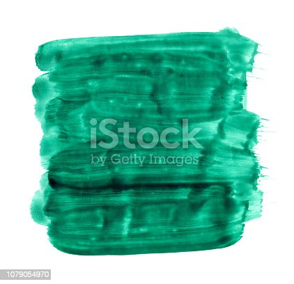 istock Irregular uneven sprayed green paint stain made by strongly diluted acrylic paint dripping straight from a thick brush on white paper background 1079054970