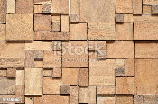 Irregularly shaped wooden blocks background