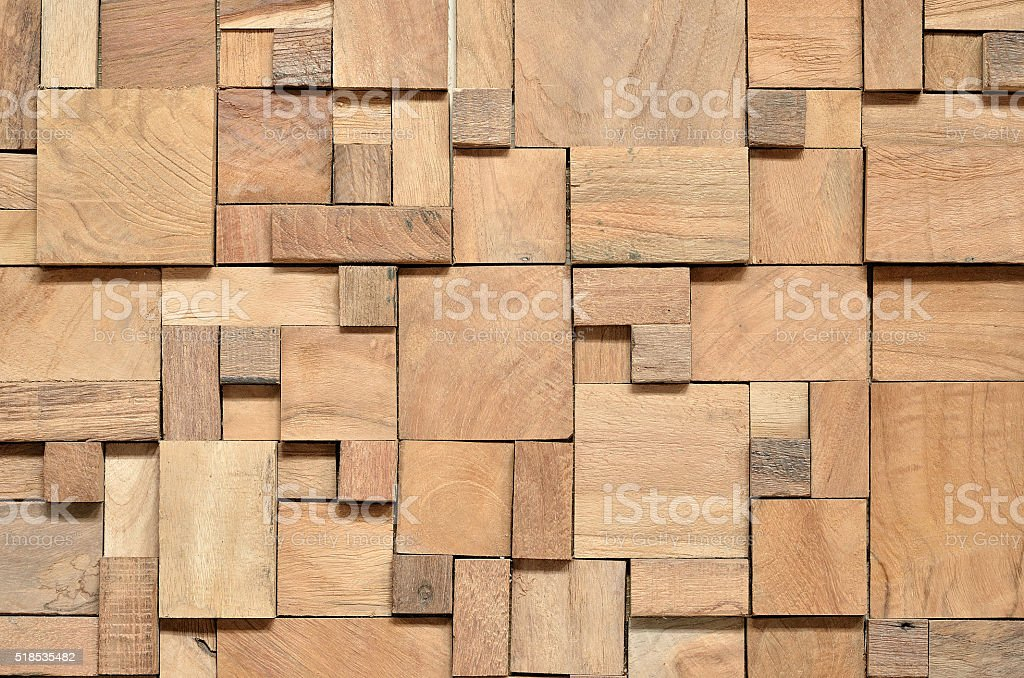 Irregularly shaped wooden blocks background stock photo