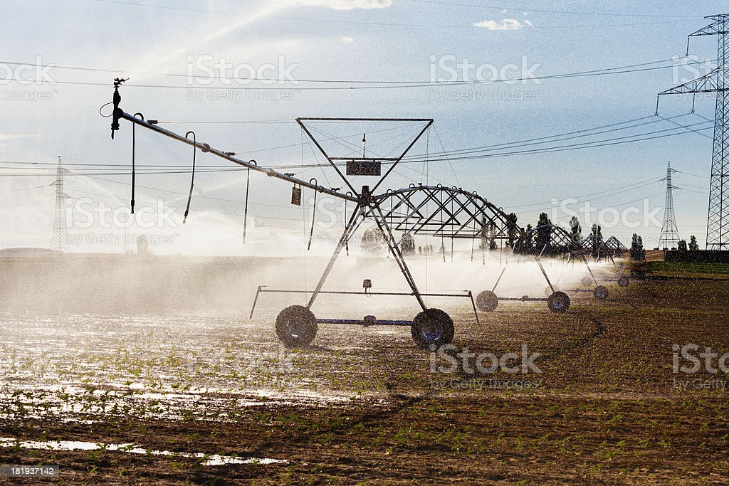 Irrigation and Electric Power royalty-free stock photo