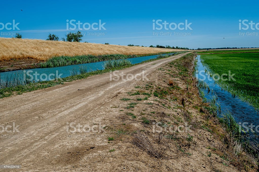 Irrigation Canal and Levee, California stock photo