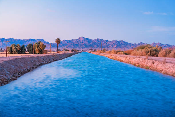 Irrigation Canal in Colorado Desert California USA Stock photograph of an irrigation canal in Blythe, Riverside County, California USA, Colorado Desert, at twilight blue hour, with the Big Maria Mountains in the background. colorado river stock pictures, royalty-free photos & images