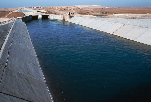 Irrigation canal northern Syria stock photo
