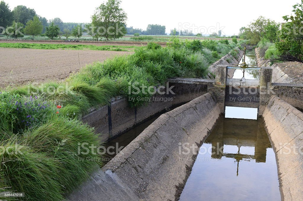 Canal de riego / irrigation canal stock photo
