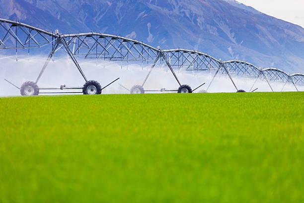 Bewässerung Maschine gießen grüne Gras – Foto