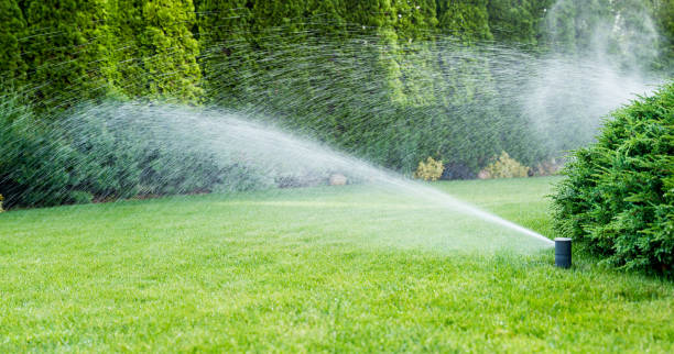 Irrigation of the green grass with sprinkler system. Irrigation of the green grass with sprinkler system. irrigation equipment stock pictures, royalty-free photos & images