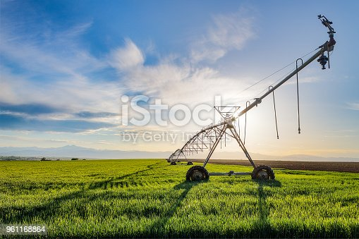 Bright sunshine highlights the irrigation sprinkler and green farmland with the rocky mountains and blue sky beyond