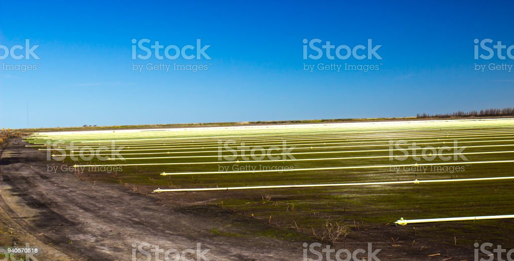 Irrigation Sprinklers & Pipes On Farm stock photo
