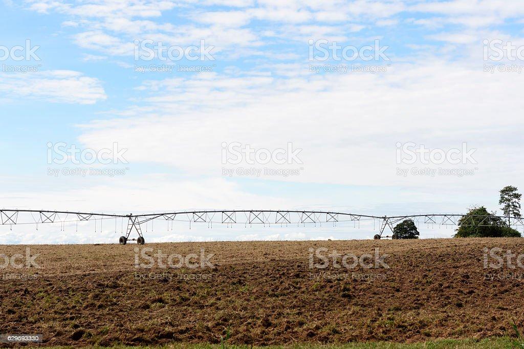 Irrigation system on wheels stock photo