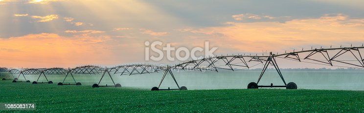 Agricultural irrigation system watering agricultural fields in summer.
