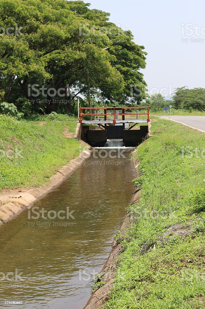 Irrigation water delivery Canal. stock photo