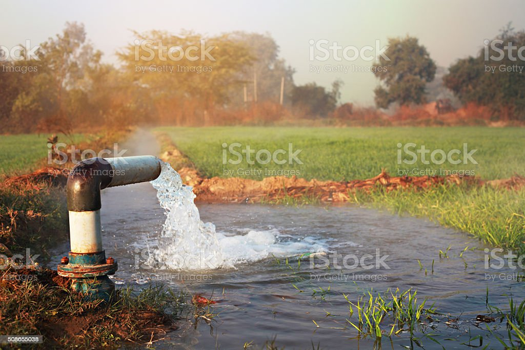 Irrigation With Tube Well (Irrigation Equipment) stock photo