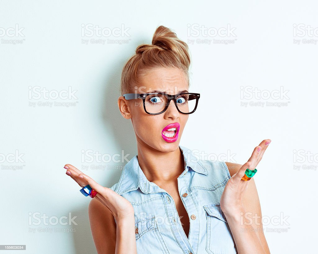 Irritated woman stock photo
