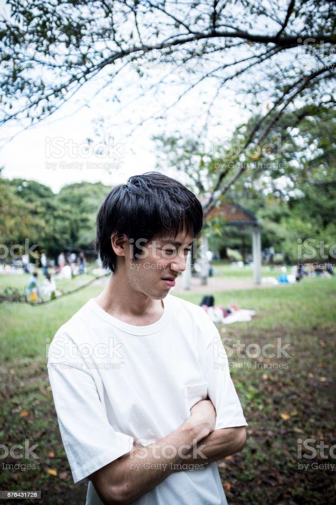Irritated young man stock photo