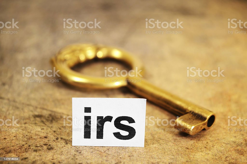 Irs and key concept stock photo