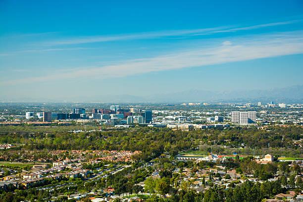 Irvine and Greater Orange County skyline aerial stock photo
