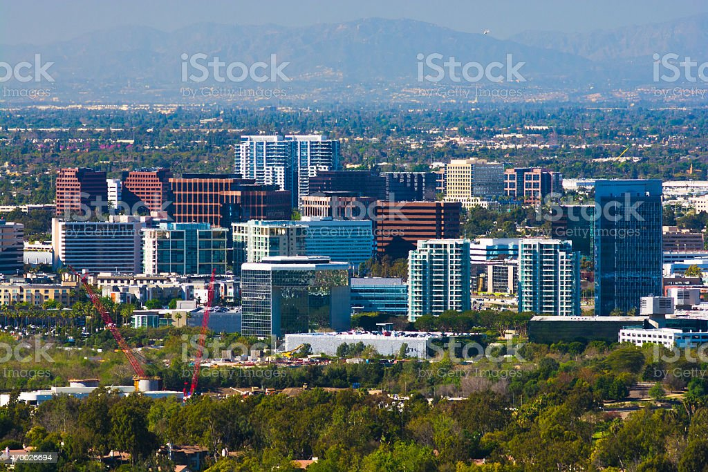 Irvine Business Complex Skyline Aerial stock photo