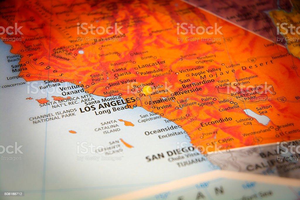 Irvine California Travel Road Map Macro stock photo