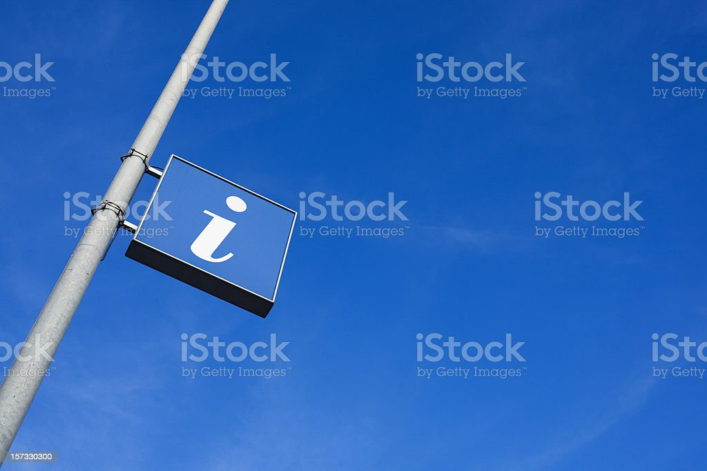I is for information sign in blue stock photo