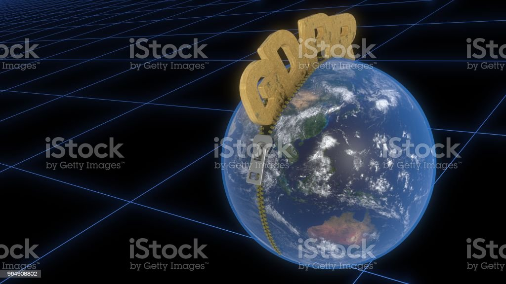 GDPR is leaving the zipper through the world, 3d rendering royalty-free stock photo