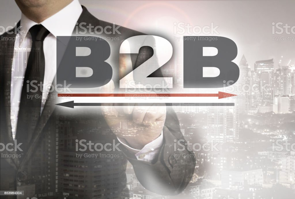 B2B is shown by businessman concept stock photo