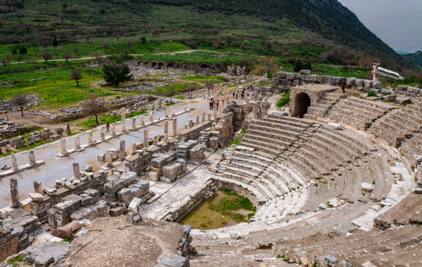 ODEON is the parliamentary building structure of the ancient period, Ephesus Ancient City in Izmir, Turkey. odeon, theater, parliament, columnar road, orchestra ephesus stock pictures, royalty-free photos & images