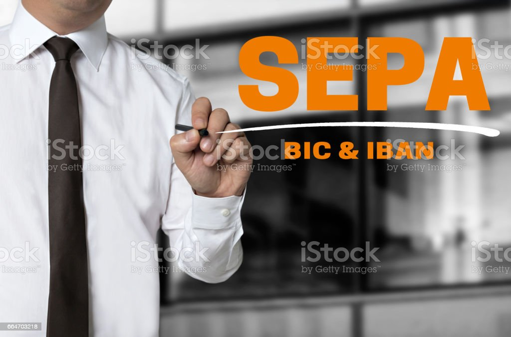 SEPA is written by businessman background concept stock photo