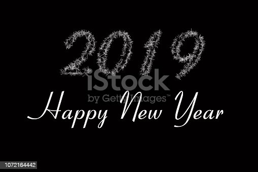 istock 2019 is written with snow . Black background 2019 article . White 2019 New Year of on black background . Happy New Year 2019 . Card design, web banner template, poster, postcard, lettering background 1072164442
