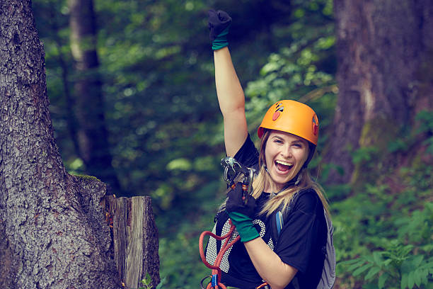 is zip lining time stock photo