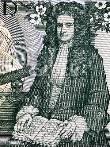 Isaac Newton a portrait from old English money - one Pound