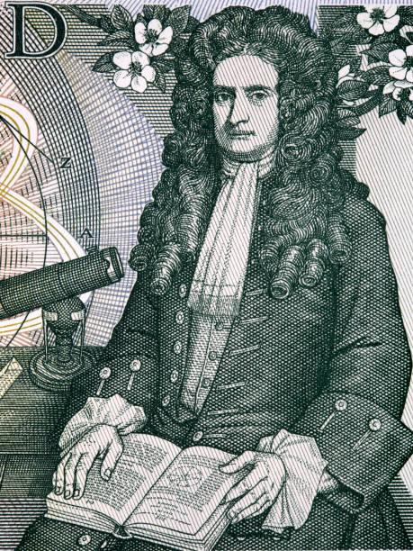 Isaac Newton ein Porträt aus altem englischen Geld – Foto