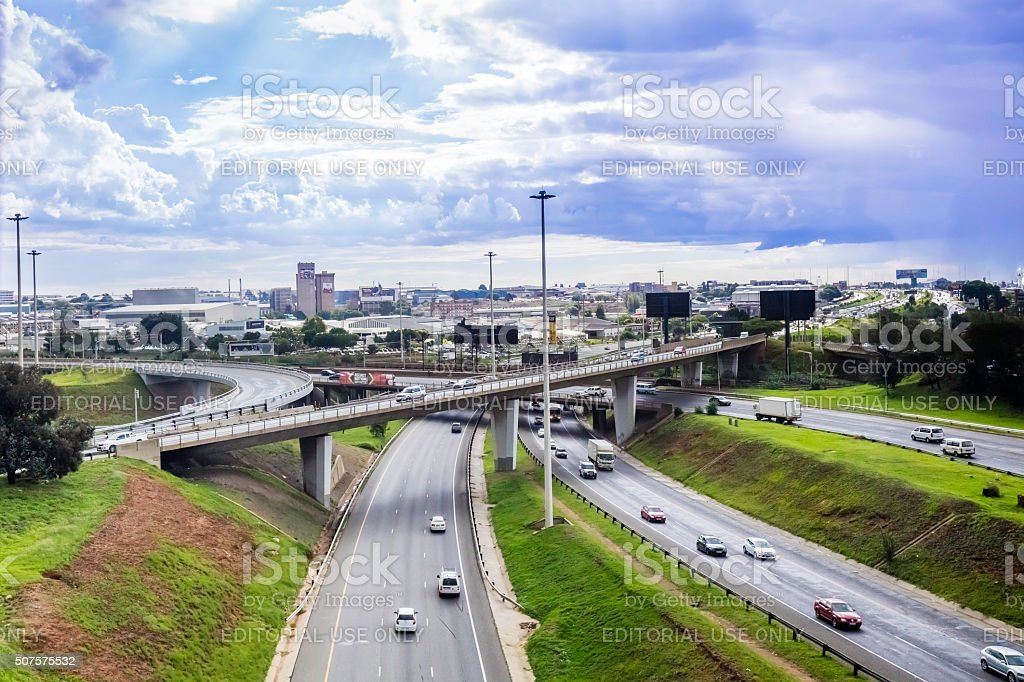 Isando Industrial Area from OR Tambo Airport stock photo