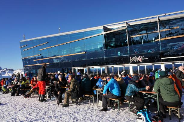 Ischgl late afternoon mountain bar stock photo