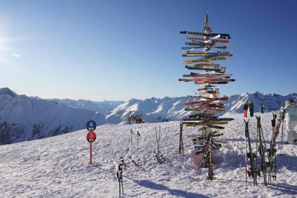 Ischgl - ski direction post stock photo