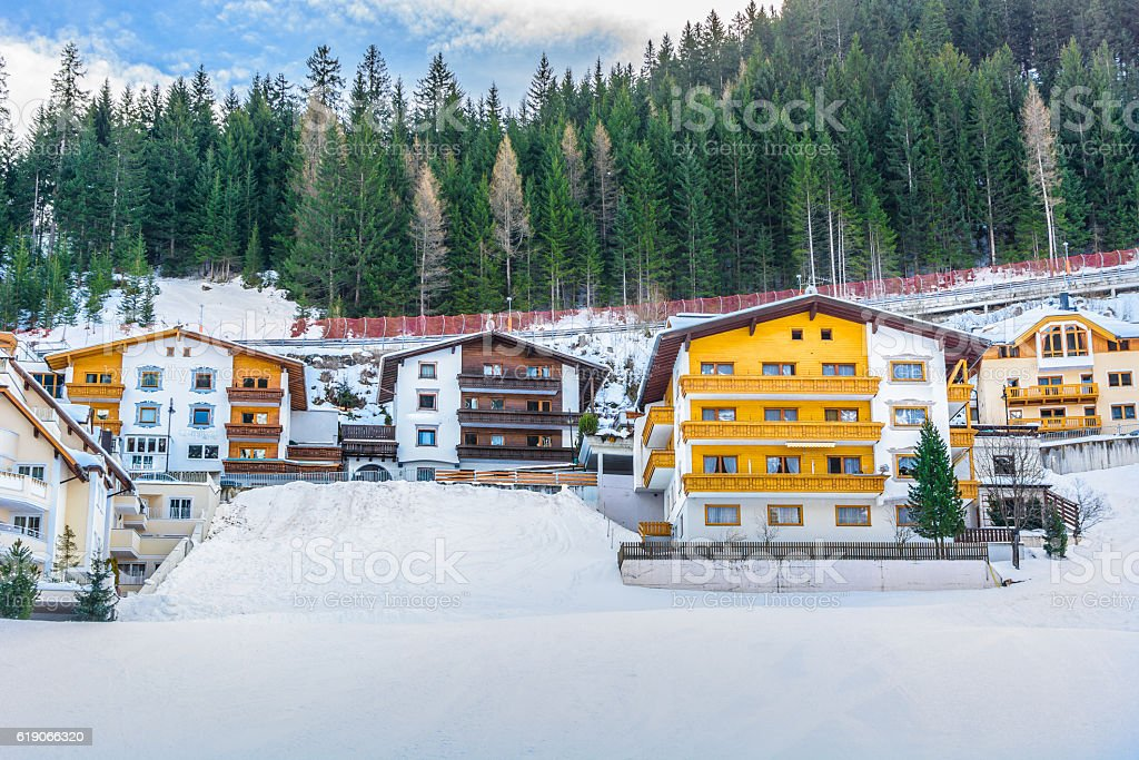 Ischgl traditional winter houses stock photo