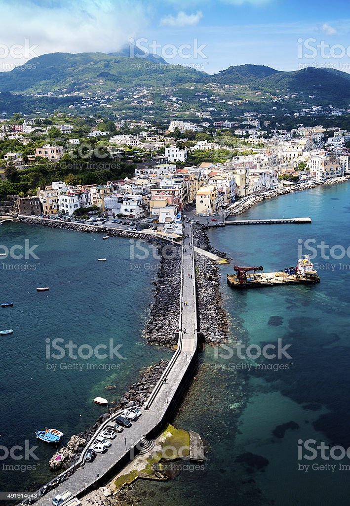 Ischia island from Aragonese Castle stock photo
