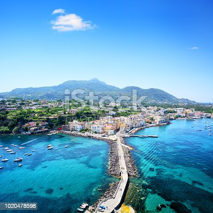 Aerial view of Ischia island, at the Gulf of Naples, Italy. Composite photo