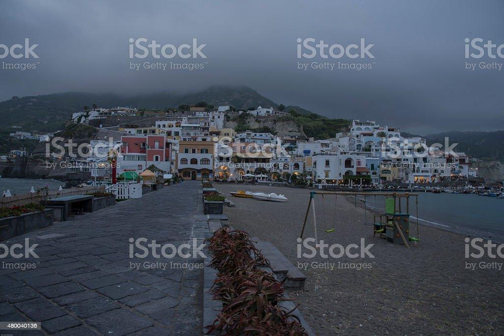 Ischia Island - Sant'Angelo  before the rain. stock photo