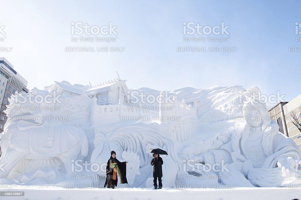 Ise Jingu Modern Legend, Sapporo Snow Festival 2013 royalty-free stock photo
