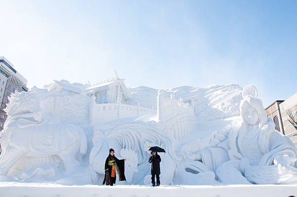 ise jingu modern legend, sapporo snow festival 2013 - sapporo stock photos and pictures