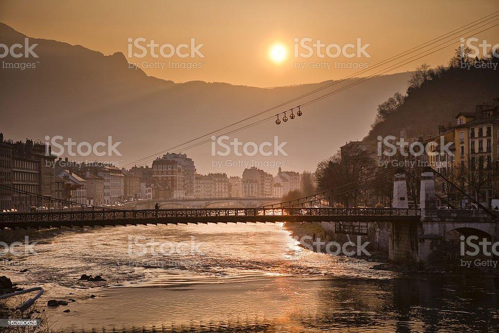 Isere River in Grenoble stock photo