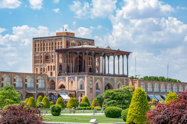 24/05/2019 Isfahan, Isfahan Province, Iran, Naqsh-e Jahan Square with Ali Qapu Palace in sunny day stock photo