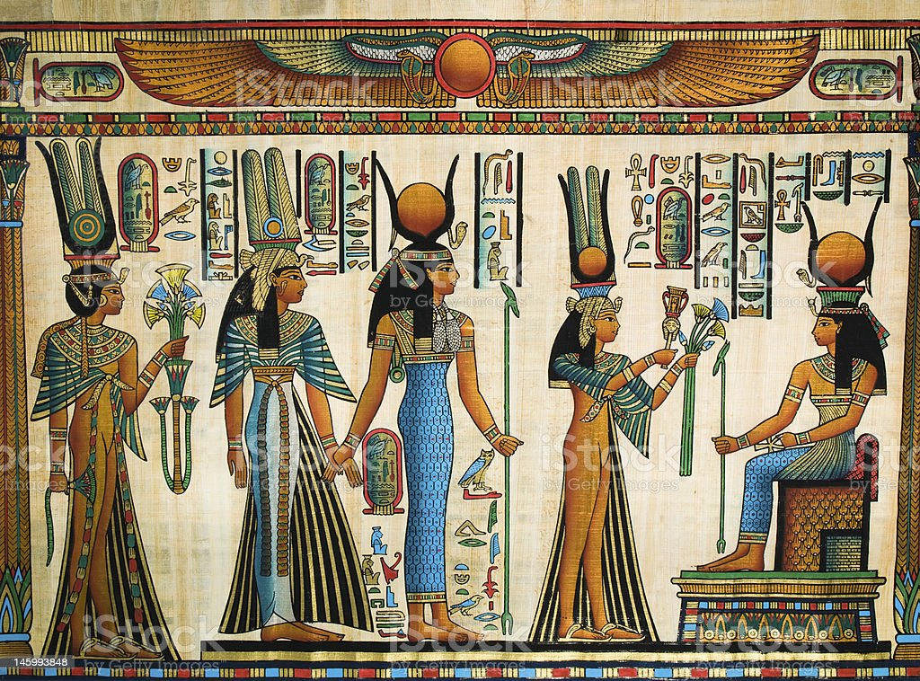 Isis and Nefertari in an Egyptian papyrus stock photo