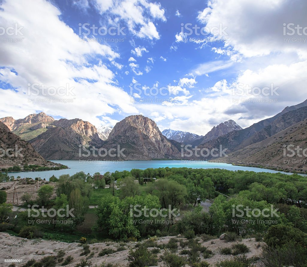 Iskader lake in Fann mountains, Tajikistan stock photo