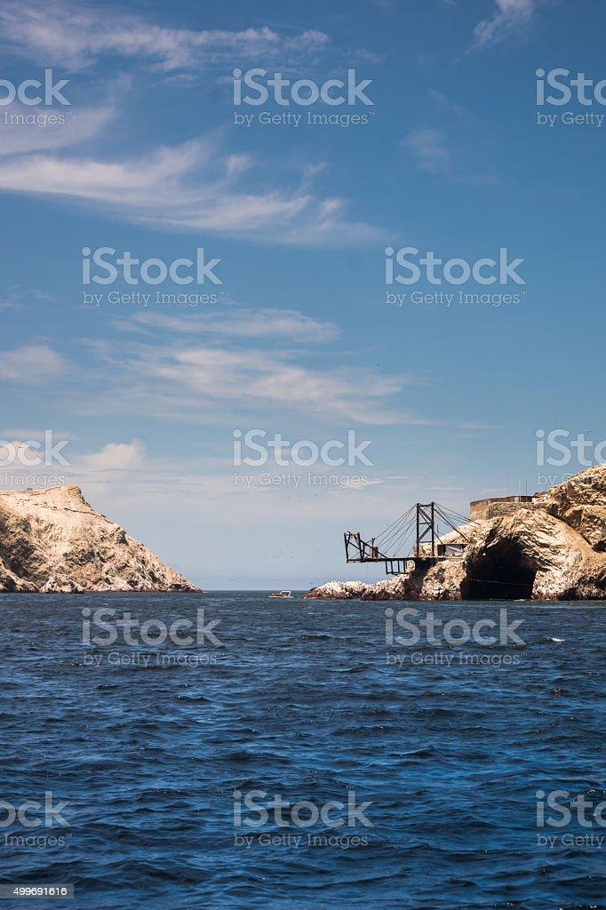 Isla Ballistas rocks and lagoons stock photo