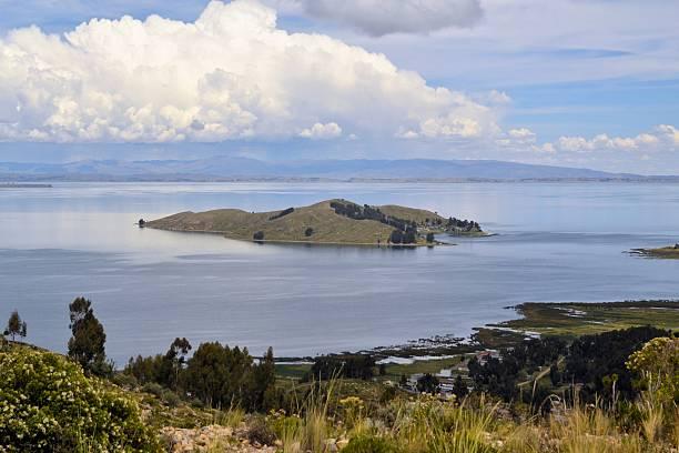 Isla de la luna in Titicaca lake, Bolivia stock photo